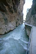 Steep sided gorge eroded through limestone, Saklikent Gorge, Mugla Province, Turkey