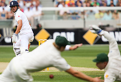 © Licensed to London News Pictures. 26/12/2013. Alastair Cook edges the ball between 1st slip & the wicketkeeper during the Ashes Boxing Day Test Match between Australia Vs England at the MCG on 26 December, 2013 in Melbourne, Australia. Photo credit : Asanka Brendon Ratnayake/LNP