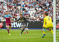 Football - 2019 / 2020 Premier League - West Ham United vs. Norwich <br /> <br /> Max Aarons (Norwich City) with only the West Ham goalkeeper to beat pulls his shot wide at the London Stadium<br /> <br /> COLORSPORT/DANIEL BEARHAM