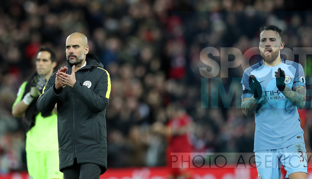 Manchester City Manager Pep Guardiola reacts after the English Premier League match at Anfield Stadium, Liverpool. Picture date: December 31st, 2016. Photo credit should read: Lynne Cameron/Sportimage