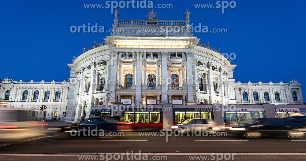 THEMENBILD - Burgtheater waehrend der Blauen Stunde. Es liegt am Universitaetsring, frueher Dr.-Karl-Lueger-Ring, und eroeffnete erstmals am 14. Oktober 1888. Es gilt als das oesterreichische Nationaltheater. Das Bild wurde am 15. April 2013 aufgenommen. im Bild Verkehr vor Burgtheater // THEME IMAGE FEATURE - Burgtheater in Vienna at Twilight Hour, which is at the viennese ring road and opened on 14th, October 1888. The image was taken on april, 15th, 2013. Picture shows traffic in front of Burgtheater , AUT, EXPA Pictures © 2013, PhotoCredit: EXPA/ Michael Gruber