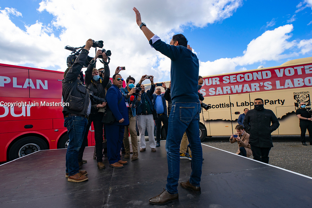 Glasgow, Scotland, UK. 5 May 2021. Scottish Labour Leader Anas Sarwar and former Prime Minister Gordon Brown appear at an eve of polls drive-in campaign rally in Glasgow today.  Anas Sarwar after speech. Iain Masterton/Alamy Live News