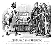 """The Modern """"Bed of Procrustes."""" Procrustes. """"Now then, you fellows; I mean to fit you all to my little bed!"""" Chorus. """"Oh lor-r!!"""" [""""It is impossible to establish universal uniformity of hours without inflicting very serious injury to workers.""""—Motion at the recent trades' congress.]"""