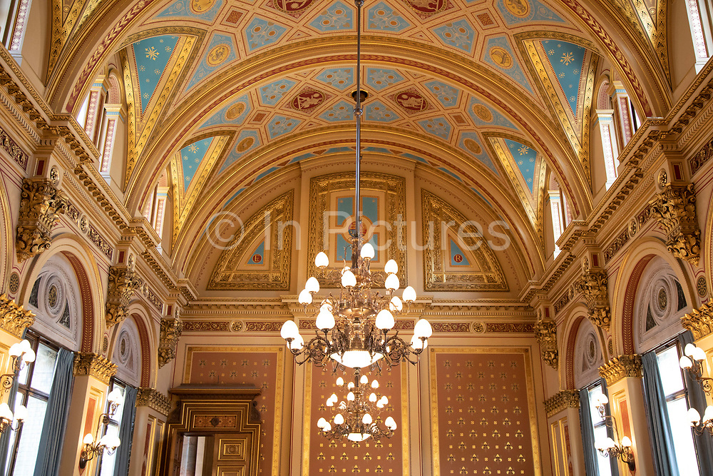 Interior of the ornate ceiling in the Locarno Suite at the Foreign and Commonwealth Office on 6th March 2020 in London, United Kingdom. This room is named after the Locarno Treaties. The Foreign and Commonwealth Office, commonly called the Foreign Office, or British Foreign Office, is a department of the Government of the United Kingdom. It is responsible for protecting and promoting British interests worldwide and was created in 1968 by merging the Foreign Office and the Commonwealth Office.