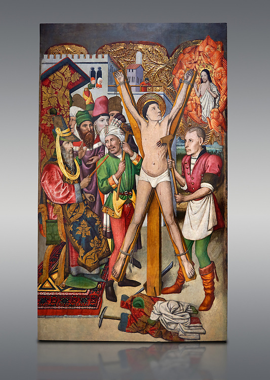 Gothic Catalan altarpiece of the martydom of Sant Vicenc (Saint Vincent), by Jaume Huguet of Barcelona, circa 1455-1460, tempera and gold leaf on wood, from the church of San Vicenc de Sarria, Barcelona..  National Museum of Catalan Art, Barcelona, Spain, inv no: MNAC 15866. .<br /> <br /> If you prefer you can also buy from our ALAMY PHOTO LIBRARY  Collection visit : https://www.alamy.com/portfolio/paul-williams-funkystock/gothic-art-antiquities.html  Type -     MANAC    - into the LOWER SEARCH WITHIN GALLERY box. Refine search by adding background colour, place, museum etc<br /> <br /> Visit our MEDIEVAL GOTHIC ART PHOTO COLLECTIONS for more   photos  to download or buy as prints https://funkystock.photoshelter.com/gallery-collection/Medieval-Gothic-Art-Antiquities-Historic-Sites-Pictures-Images-of/C0000gZ8POl_DCqE