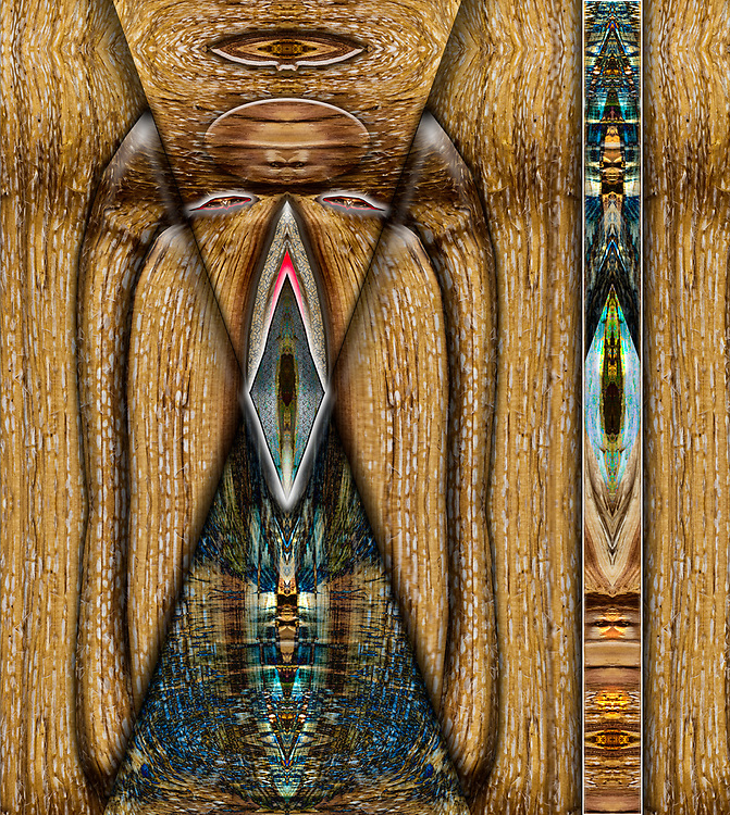 """""""Guardian of the Wood Pile"""", derivative image from a photo ofan abstract firewood design, October, Hubbard County, MN. USA"""