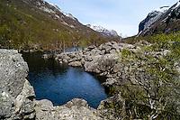 Norway, Frafjord. The Månavatnet lake behind the huge rockfall.