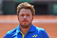 Stan Wawrinka (SUI) during the mens singles second round of the Roland Garros Tennis Open 2017 at Roland Garros Stadium, Paris, France on 1 June 2017. Photo by Jon Bromley.