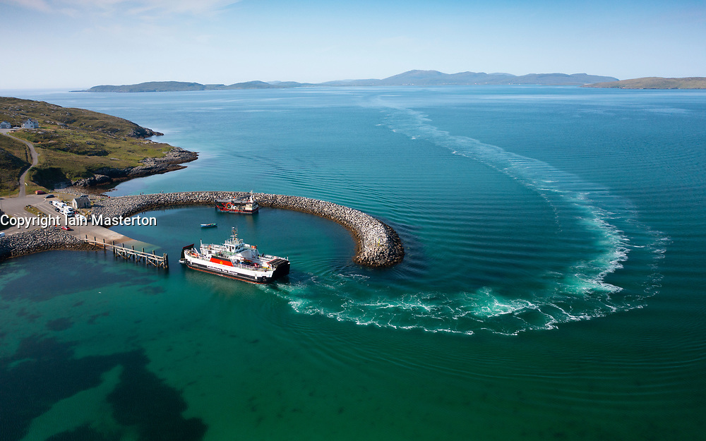 Caledonian Macbrayne ferry arrives at port on island of Eriskay from Barra  in the Outer Hebrides, Scotland, UK