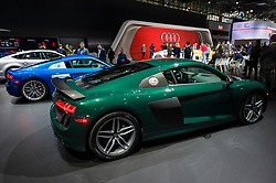 NEW YORK, USA - MARCH 23, 2016: Audi R8 V10 plus on display during the New York International Auto Show at the Jacob Javits Center.