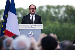 French President Francois Hollande delivers his speech during a ceremony to mark the 102nd anniversary of the Armenian genocide, in Paris, France on April 24, 2017. The anniversary is to remember the beginning of events that led to the systematic extermination of 1.5 million Armenians during World War I. Photo by Kamil Zihnioglu/Pool/ABACAPRESS.COM