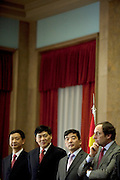 Cao Guangjing (thord from left and Paulo Portas portugues Minister for Foreign Affairs<br /> <br /> The president of China Three Gorges electric company, Cao Guangjing; the chairman of the board of Parpública, Joaquim Reis, and António Mexia, chairman of the Board of EDP signed an agreement that gives the first formal step for the acquisition of a state share of 21.35% in the EDP, the portuguese electric company.
