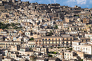 Ancient hill city of Modica Alta famous for Baroque architecture viewed from Modica Bassa, Sicily