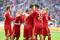 29.10.2011, Allianz Arena, Muenchen, GER, 1.FBL,  FC Bayern Muenchen vs 1. FC Nuernberg, im Bild  Jubel nach dem 3-0 durch Franck Ribery (Bayern #7) mit Thomas Mueller (Bayern #25) Rafinha (Bayern #13) Mario Gomez (Bayern #33) Toni Kroos (Bayern #39) Philipp Lahm (Bayern #21) // during the match FC Bayern Muenchen vs 1. FC Nuernberg, on 2011/10/29, Allianz Arena, Munich, Germany, EXPA Pictures © 2011, PhotoCredit: EXPA/ nph/  Straubmeier       ****** out of GER / CRO  / BEL ******