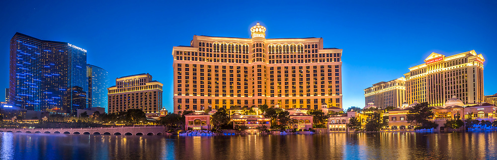 Panorama of the The Bellagio Hotel and Casino along the Strip in Las Vegas, Nevada.