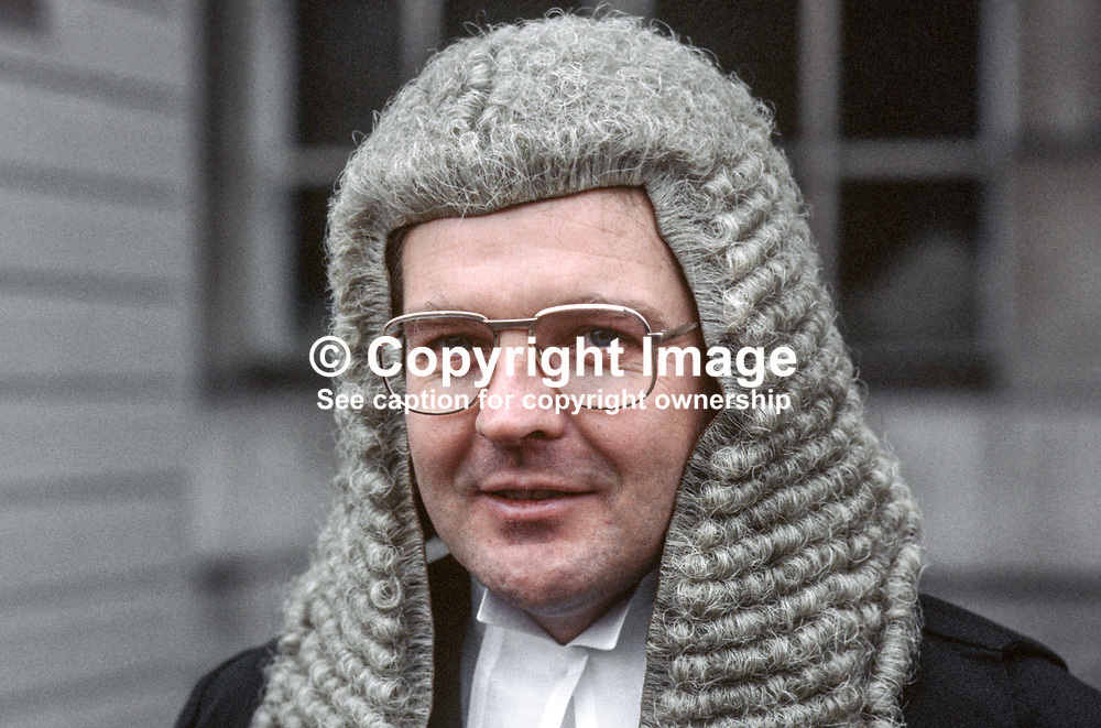 Malachy Higgins, QC, N Ireland, UK, 19850003MH.<br /> <br /> Copyright Image from Victor Patterson, Belfast, UK<br /> <br /> t: +44 28 9066 1296 (from Rep of Ireland 048 9066 1296)<br /> m: +44 7802 353836<br /> e: victorpattersonbelfast@gmail.com<br /> <br /> www.images4media.com<br /> <br /> Please see my full Terms and Conditions of Use at https://www.images4media.com/p/terms-conditions - it is IMPORTANT that you familiarise yourself with them.<br /> <br /> Images used online incur an additional cost. This cost should be agreed in writing in advance. Online images must be visibly watermarked i.e. © Victor Patterson or that of the named photographer within the body of the image. The original metadata must not be deleted from images used online.<br /> <br /> This image is only available for the use of the download recipient i.e. television station, newspaper, magazine, book publisher, etc, and must not be passed on to a third party. It is also downloaded on condition that each and every usage is notified within 7 days to victorpattersonbelfast@gmail.com.<br /> <br /> The right of Victor Patterson (or the named photographer) to be identified as the author is asserted in accordance with The Copyright Designs And Patents Act (1988). All moral rights are asserted.