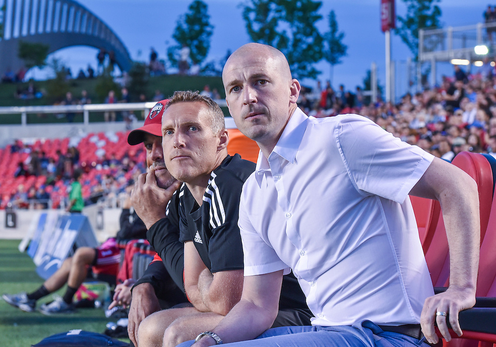 Fury head coach Paul Dalglish (R) and coach Martin Nash watch on during the Amway Canadian Championship semi-final first leg match between the Ottawa Fury FC and the Vancouver Whitecaps at TD Place Stadium in Ottawa, ON. Canada on June 1, 2016.<br /> <br /> PHOTO: Steve Kingsman/Freestyle Photography