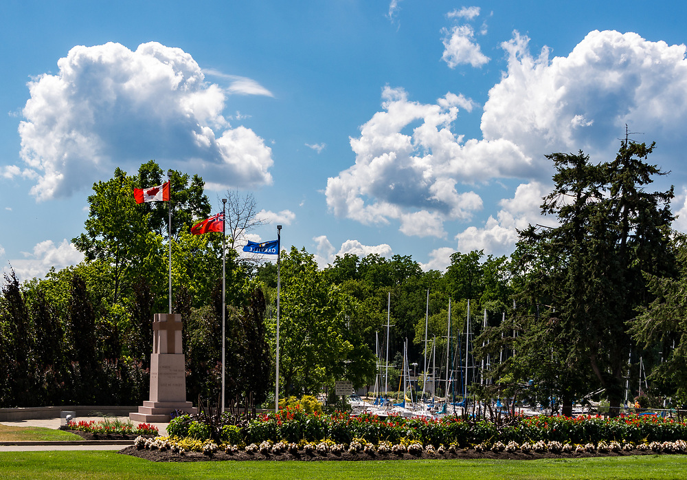 A view of Bronte Harbour, Oakville, with the cenotaph in the foreground