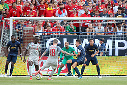 July 28, 2018 - Ann Arbor, Michigan, United States - Alberto Moreno (18) of Liverpool attempts to kick in a goal defended by Manchester goalie Lee Grand during an International Champions Cup match between Manchester United and Liverpool at Michigan Stadium in Ann Arbor, Michigan USA, on Wednesday, July 28,  2018. (Credit Image: © Amy Lemus/NurPhoto via ZUMA Press)