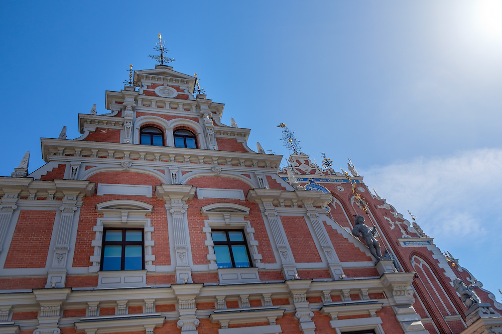 """RIGA, LATVIA - CIRCA MAY 2014: Architectural detail of """"The House of Blackheads"""" in old town Riga"""