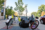 MADISON, WI — SEPTEMBER 15: Homeless belongings occupy bike rack space just outside the City County Building in downtown Madison, Tuesday, September 15, 2015.