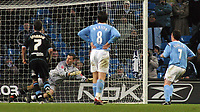 Photo: Paul Thomas.<br />Manchester City v Scunthorpe United. The FA Cup.<br />07/01/2006.<br />Man City's Robbie Fowler (R) puts his hat-trick goal past keeper Tom Evans.