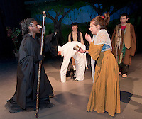 """The Baker's Wife (Alana Persson) has trouble coming up with all of the Witch's (Mabinty Kamara) demands during dress rehearsal for """"Into The Woods"""" Wednesday afternoon at Laconia Middle School.   (Karen Bobotas/for the Laconia Daily Sun)"""