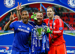Didier Drogba, John Terry and Petr Cech of Chelsea pose with the Leagur Cup Trophy after winning the Capital One Cup Final - Photo mandatory by-line: Rogan Thomson/JMP - 07966 386802 - 01/03/2015 - SPORT - FOOTBALL - London, England - Wembley Stadium - Chelsea v Tottenham Hotspur - Capital One Cup Final.