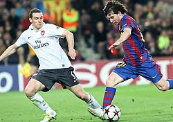06-04-2010 VOETBAL: CHAMPIONS LEAGUE: BARCELONA - ARSENAL: BARCELONA<br /> Barcelona wint met 4-0 van Arsenal /  Lionel Messi en Thomas Vermaelen<br /> ©2010-FRH-nph / Alterphotos-Acero
