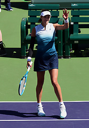March 8, 2019 - Indian Wells, CA, U.S. - INDIAN WELLS, CA - MARCH 08: Garbine Muguruza (ESP) waves to the fans after defeating Lauren Davis (USA) in straight sets to advance to the next round of the BNP Paribas Open played at the Indian Wells Tennis Garden in Indian Wells, CA. (Photo by John Cordes/Icon Sportswire) (Credit Image: © John Cordes/Icon SMI via ZUMA Press)