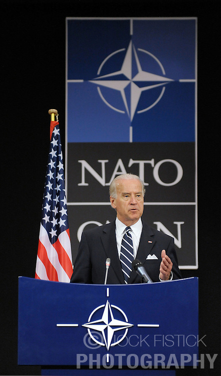 U.S. Vice President Joseph Biden, speaks during news conference following a meeting with the ambassadors representing the 26 members of the North Atlantic Treaty Organization, at NATO headquarters in Brussels, Tuesday, March, 10, 2009. (Photo © Jock Fistick)