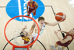 Marko Simonovski of Macedonia vs Jaka Klobucar of Slovenia during basketball match between Slovenia and Macedonia at Day 6 in Group C of FIBA Europe Eurobasket 2015, on September 10, 2015, in Arena Zagreb, Croatia. Photo by Vid Ponikvar / Sportida