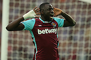 Cheikhou Kouyate of West Ham United celebrates after scoring his sides 1st goal of the match to make it 1-0 on the night. UEFA Europa league, 3rd qualifying round match, 2nd leg, West Ham Utd v NK Domzale at the London Stadium, Queen Elizabeth Olympic Park in London on Thursday 4th August 2016.<br /> pic by John Patrick Fletcher, Andrew Orchard sports photography.