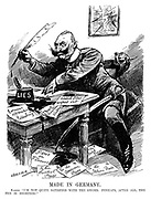"""Made in Germany. Kaiser. """"I'm not quite satisfied with the sword. Perhaps, after all, the pen is mightier!"""" (Kaiser Wilhelm II dips his quill into a Lies ink pot and writes Germans Approaching Petersburg, Great Austrian Victory, British Fleet Wiped Out, Paris In Flames, To The Swedish Press, To The Americam Press, To The Dutch Press and To The Italian Press while a picture of Truth on the wall behind has been smashed during WW1)"""