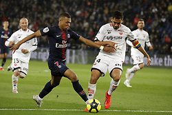 Paris Saint-Germain's player Kylian Mbappe and Dijon's player Cedric Yambere in action during the French L1 football match between Paris Saint-Germain (PSG) and Dijon at the Parc des Princes stadium in Paris  on May 18, 2019 in Paris, France. .Paris Saint Germain won Dijon 4-0 (Credit Image: © Jack Chan/Chine Nouvelle/Xinhua via ZUMA Wire)