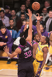 January 24, 2019 - Los Angeles, California, U.S - Karl-Anthony Towns #32 of the Minneapolis Timberwolves defends against Rajon Rondo #9 of the Los Angeles Lakers during their NBA game on Thursday January 24, 2019 at the Staples Center in Los Angeles, California. Lakers lose to Timberwolves, 105-120. (Credit Image: © Prensa Internacional via ZUMA Wire)