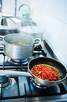 Cooking traditional Italian food at a culinary school