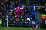 Raheem Sterling of Manchester city (l) scores his teams 2nd goal.  The Emirates FA Cup, 4th round match, Cardiff city v Manchester City at the Cardiff City Stadium in Cardiff, South Wales on Saturday 28th January 2018.<br /> pic by Andrew Orchard, Andrew Orchard sports photography.