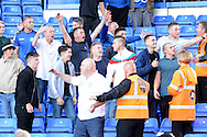 Birmingham fans taunt the Reading fans after the penalty miss during the Sky Bet Championship match between Birmingham City and Reading at St Andrews, Birmingham, England on 8 August 2015. Photo by Alan Franklin.