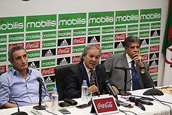 October 19, 2017 - Algiers, Algeria - Algerian football legend Rabah Madjer, new national coach of Soccer, attends host a conference at the Sidi-Moussa National Technical Center in Algiers, Algeria on 19 October 2017. (Credit Image: © Billal Bensalem/NurPhoto via ZUMA Press)
