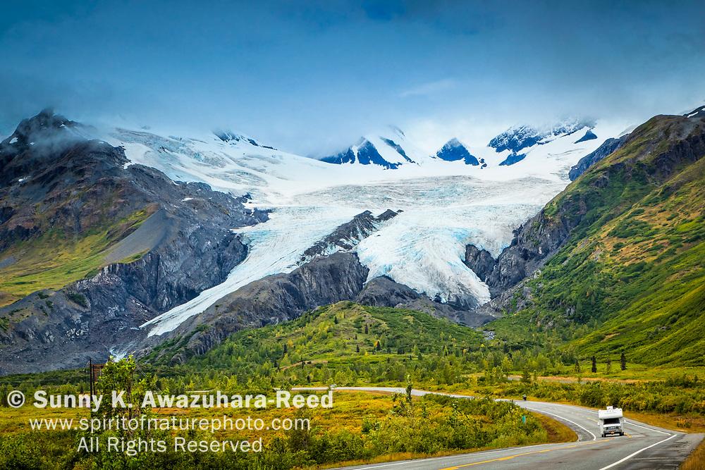 Worthington Glacier with RV on Richardson Hwy. Valdez, Southcentral Alaska, Autumn.