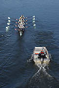 Putney. London,  Great Britain.<br /> CUBC, followed by the coaches Launch.<br /> 2016 Tideway Week, Putney. Putney Embankment, Championship Course. River Thames.<br /> <br /> Friday  25/03/2016 <br /> <br /> [Mandatory Credit; Karon PHILLIPS/Intersport-images]