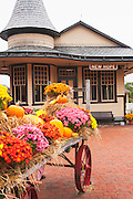 The still operating New Hope and Ivyland Railroad station in autumn, New Hope, Pennsylvania, USA