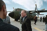 13 OCT 1999, BERLIN/GERMANY:<br /> Rudolf Scharping, SPD, Bundesverteidigungsminister, vor einer Transall C-160 Transportflugzeug der Luftwaffe, Militärischer Teil Flughafen Berlin-Tegel<br /> IMAGE: 19991013-01/02-03<br /> KEYWORDS: Flugzeug, plane, airplane, Bundeswehr