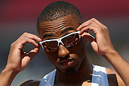 Matthew Hudson-Smith looks on before competing in the Men's 400m Semi-Final race. The British Championships 2016, athletics event at the Alexander Stadium in Birmingham, Midlands  on Saturday 25th June 2016.<br /> pic by John Patrick Fletcher, Andrew Orchard sports photography.