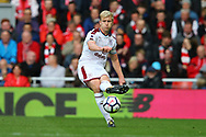 Ben Mee of Burnley in action. Premier League match, Liverpool v Burnley at the Anfield stadium in Liverpool, Merseyside on Saturday 16th September 2017.<br /> pic by Chris Stading, Andrew Orchard sports photography.