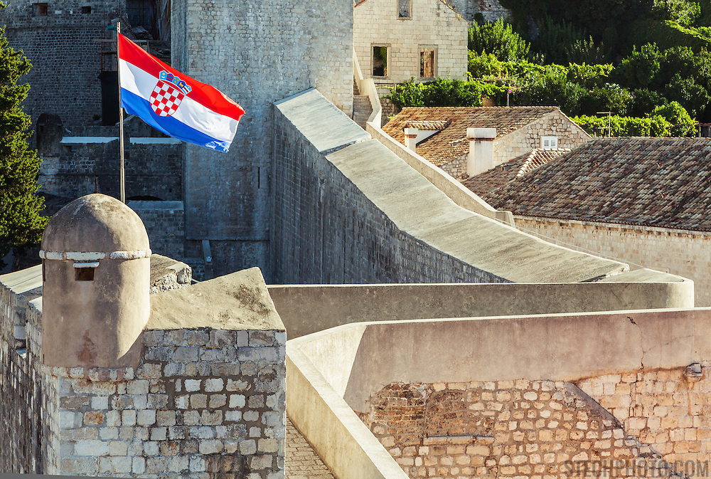 """A walkway on the old city wall in Dubrovnik, Croatia. <br /> <br /> Dubrovnik serves as the official setting of """"King's Landing"""" from the popular TV show """"Game of Thrones""""."""