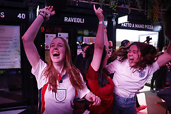 © Licensed to London News Pictures. 22/06/2021. London, UK. Fans react to the EURO 2020 Czech Republic V England football match seen on a large screen at Boxpark Croydon in south London. Photo credit: Peter Macdiarmid/LNP
