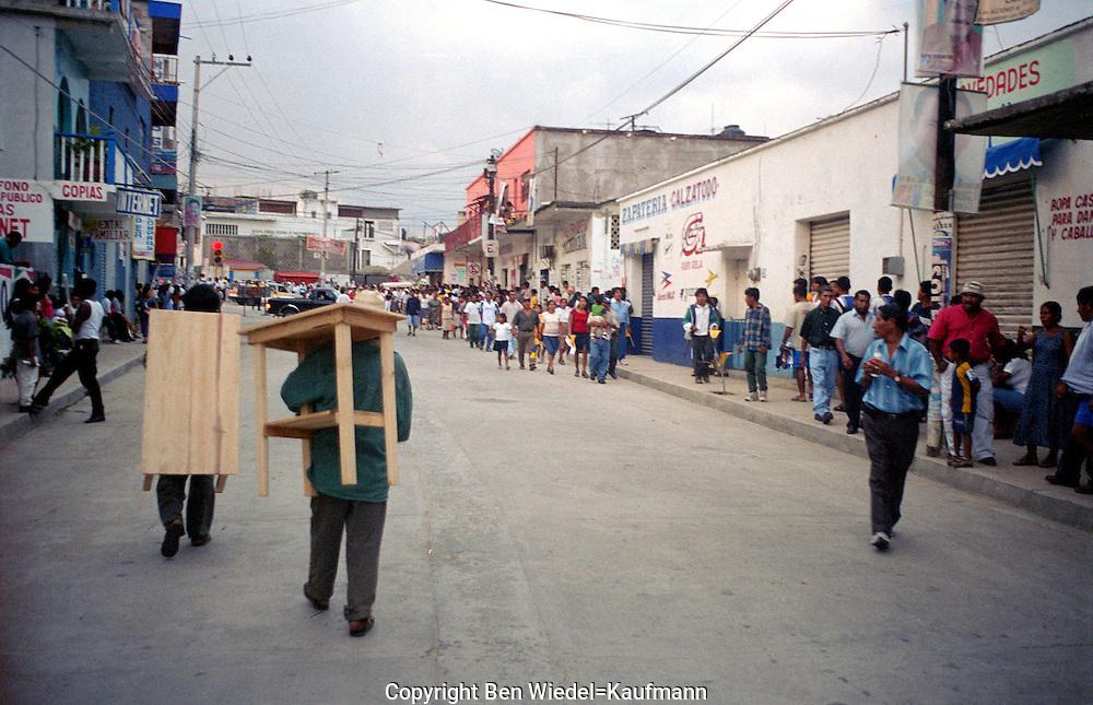 Street scene in Small town near Pacific Coast in state of Oaxaca.