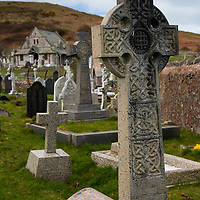 Europe, United Kingdom, Wales, Conwy. St. Tudno churchyard cross on the Great Orme, Wales.